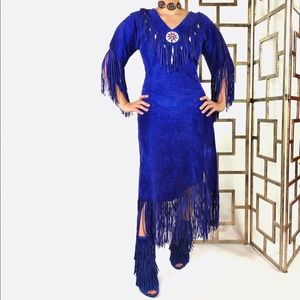 Vintage Dresses - Vintage Patricia Wolf Blue Leather Dress TPIB
